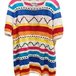 Alfred Dunner Striped Multicolored Sweater Sz XL